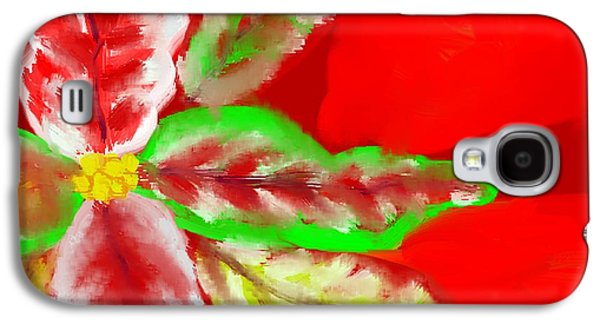 Abstract Digital Drawings Galaxy S4 Cases - Pointsettia Galaxy S4 Case by Doris Culverhouse