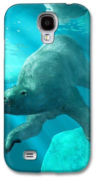 Bear Digital Galaxy S4 Cases - Polar Bear Underwater Galaxy S4 Case by Daniel Eskridge