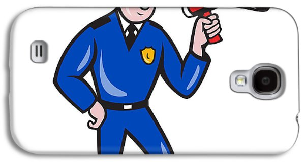 Policeman Galaxy S4 Cases - Policeman Shouting Bullhorn Isolated Cartoon Galaxy S4 Case by Aloysius Patrimonio