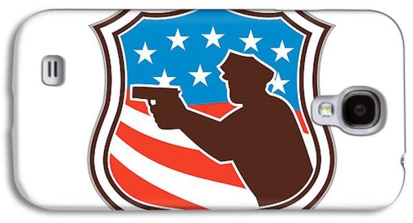 Policeman Galaxy S4 Cases - Policeman Silhouette Pointing Gun Flag Shield Retro Galaxy S4 Case by Aloysius Patrimonio