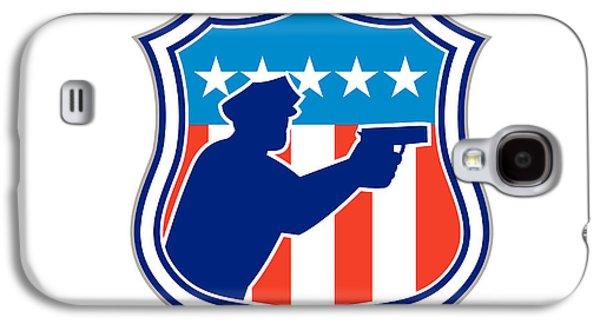 Policeman Galaxy S4 Cases - Policeman Silhouette With Gun Flag Shield Retro Galaxy S4 Case by Aloysius Patrimonio