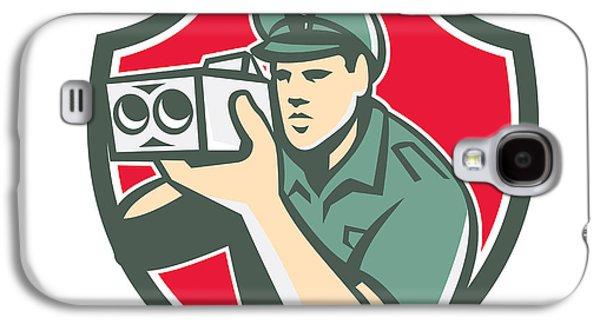 Policeman Galaxy S4 Cases - Policeman Speed Camera Shield Retro Galaxy S4 Case by Aloysius Patrimonio