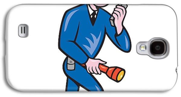 Policeman Galaxy S4 Cases - Policeman Torch Radio Cartoon Galaxy S4 Case by Aloysius Patrimonio