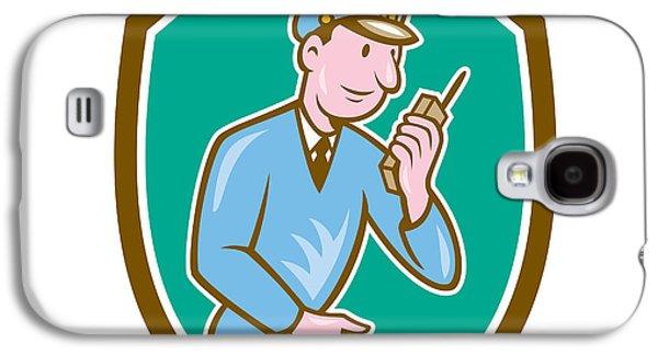 Policeman Galaxy S4 Cases - Policeman Torch Radio Shield Cartoon Galaxy S4 Case by Aloysius Patrimonio