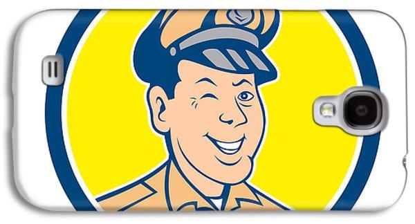 Policeman Galaxy S4 Cases - Policeman Winking Smiling Circle Cartoon Galaxy S4 Case by Aloysius Patrimonio