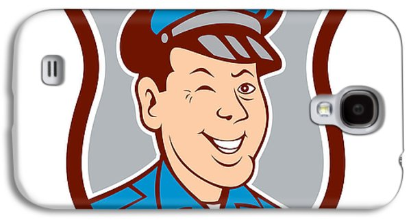 Policeman Galaxy S4 Cases - Policeman Winking Smiling Shield Cartoon Galaxy S4 Case by Aloysius Patrimonio