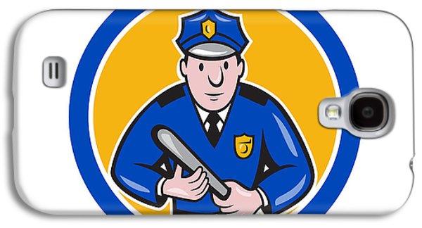Policeman Galaxy S4 Cases - Policeman With Night Stick Baton Circle Galaxy S4 Case by Aloysius Patrimonio