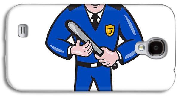 Policeman Galaxy S4 Cases - Policeman With Night Stick Baton Standing Galaxy S4 Case by Aloysius Patrimonio