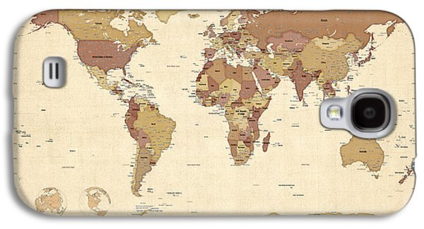 Political Galaxy S4 Cases - Political Map of the World Map Galaxy S4 Case by Michael Tompsett