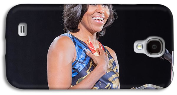 Michelle Obama Photographs Galaxy S4 Cases - Political Ralley Galaxy S4 Case by Ava Reaves