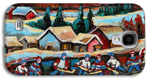 After School Hockey Paintings Galaxy S4 Cases - Pond Hockey Game In The Country Galaxy S4 Case by Carole Spandau