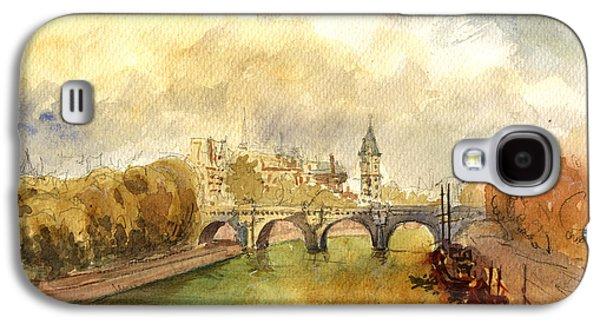 Universities Paintings Galaxy S4 Cases - Ponte Neuf Paris Galaxy S4 Case by Juan  Bosco
