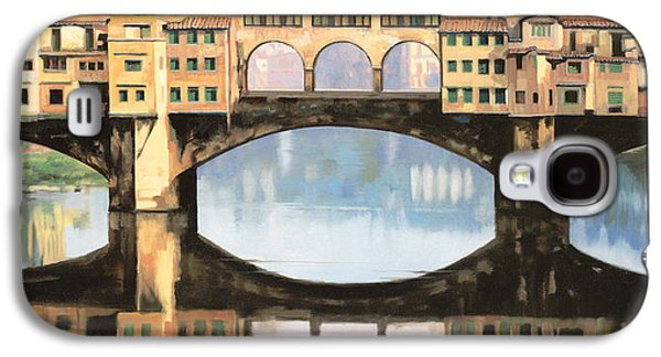 Renaissance Paintings Galaxy S4 Cases - Ponte Vecchio a Firenze Galaxy S4 Case by Guido Borelli