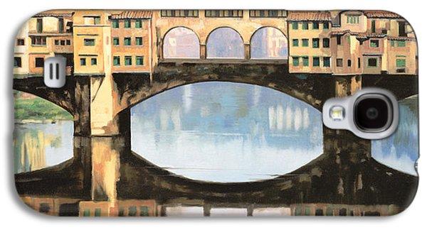 Renaissance Paintings Galaxy S4 Cases - Ponte Vecchio a Firenze Galaxy S4 Case by Guido Borelli