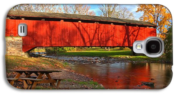 Conestoga Galaxy S4 Cases - Poole Forge Covered Bridge Reflections In The Conestoga Galaxy S4 Case by Adam Jewell