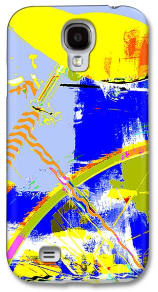 Red White And Blue Mixed Media Galaxy S4 Cases - Pop Art Bicycle in Blue and Yellow Galaxy S4 Case by Anahi DeCanio - ArtyZen Studios
