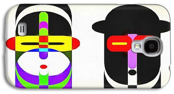 Rows Galaxy S4 Cases - Pop Art People Row White Background Galaxy S4 Case by Edward Fielding