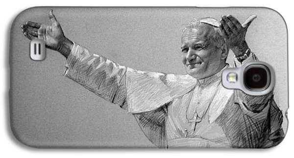Pope Galaxy S4 Cases - POPE JOHN PAUL II bw Galaxy S4 Case by Ylli Haruni