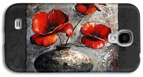 Botanical Digital Art Galaxy S4 Cases - Poppies 02 - Style Black White and Red Galaxy S4 Case by Emerico Imre Toth