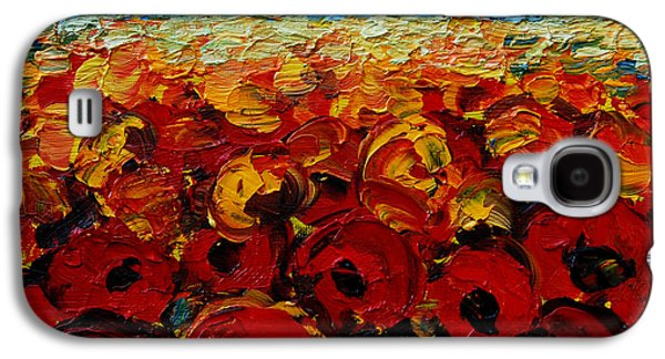 Sunset Abstract Galaxy S4 Cases - Poppies 2 Galaxy S4 Case by Mona Edulesco