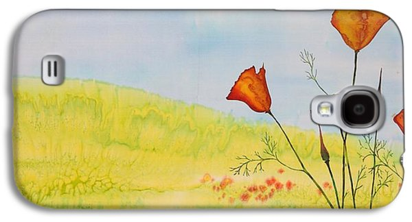 Landscapes Tapestries - Textiles Galaxy S4 Cases - Poppies in a field Galaxy S4 Case by Carolyn Doe