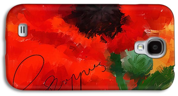 Red Abstract Paintings Galaxy S4 Cases - Poppies Galaxy S4 Case by Lourry Legarde