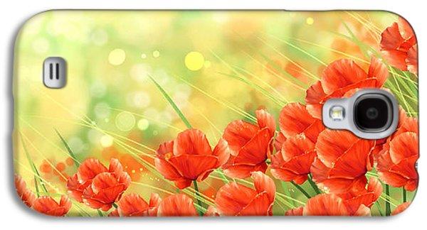 Field Digital Art Galaxy S4 Cases - Poppies Galaxy S4 Case by Veronica Minozzi