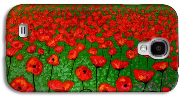 Landscape Acrylic Prints Paintings Galaxy S4 Cases - Poppy Carpet  Galaxy S4 Case by John  Nolan