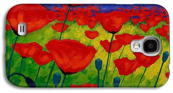 Yellow Paintings Galaxy S4 Cases - Poppy Corner II Galaxy S4 Case by John  Nolan