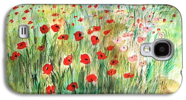 Flower Jewelry Galaxy S4 Cases - Poppy field Galaxy S4 Case by Asuncion Purnell