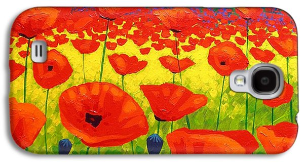 Landscape Posters Galaxy S4 Cases - Poppy Field V Galaxy S4 Case by John  Nolan