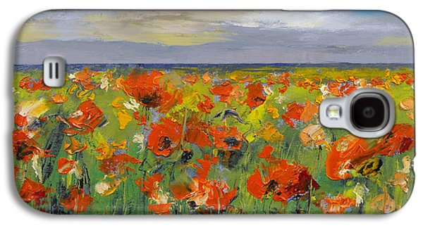 Field. Cloud Galaxy S4 Cases - Poppy Field with Storm Clouds Galaxy S4 Case by Michael Creese