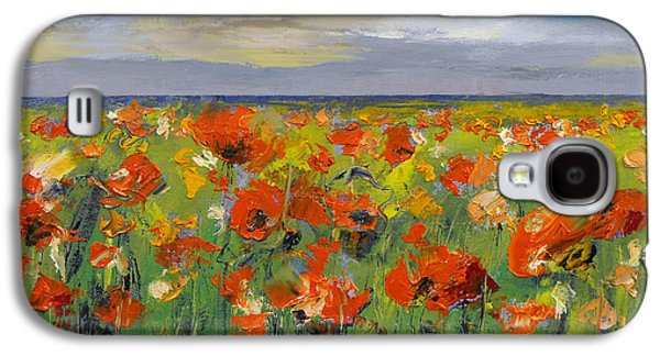 Field. Cloud Paintings Galaxy S4 Cases - Poppy Field with Storm Clouds Galaxy S4 Case by Michael Creese
