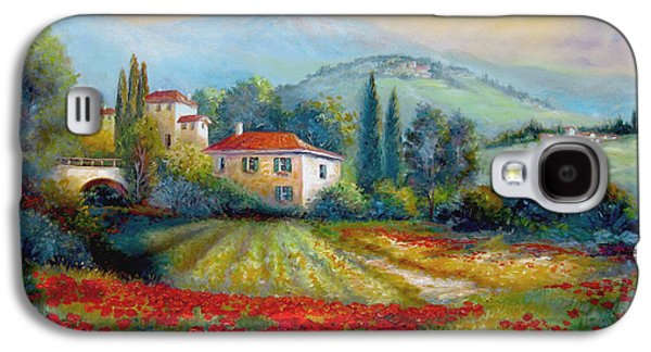 Italian Wine Paintings Galaxy S4 Cases - Poppy fields of Italy Galaxy S4 Case by Gina Femrite