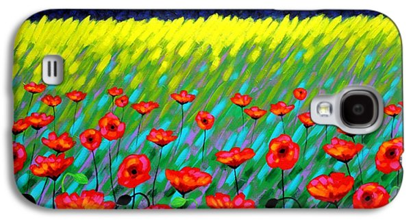 Landscape Acrylic Prints Paintings Galaxy S4 Cases - Poppy Scape Galaxy S4 Case by John  Nolan