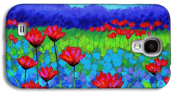 Landscape Acrylic Prints Paintings Galaxy S4 Cases - Poppy Study Galaxy S4 Case by John  Nolan