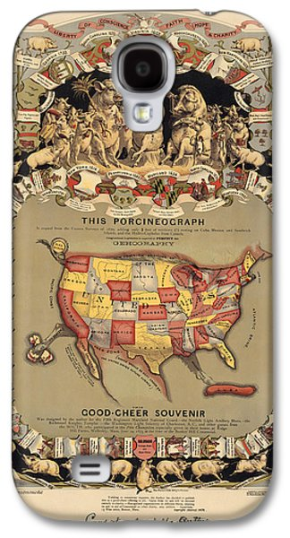 Pork Map Of The United States From 1876 Galaxy S4 Case by Blue Monocle