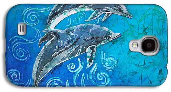 Dolphin Tapestries - Textiles Galaxy S4 Cases - Porpoise Pair Galaxy S4 Case by Sue Duda