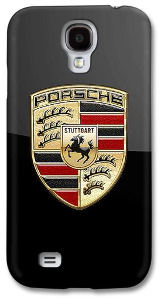 Crest Digital Art Galaxy S4 Cases - Porsche - 3D Badge on Black Galaxy S4 Case by Serge Averbukh