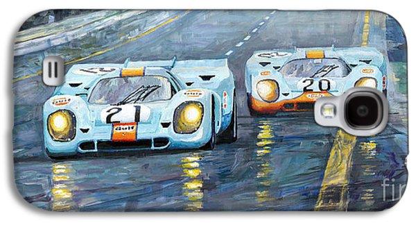 Automotive Galaxy S4 Cases - Porsche 917 K GULF Spa Francorchamps 1970 Galaxy S4 Case by Yuriy  Shevchuk