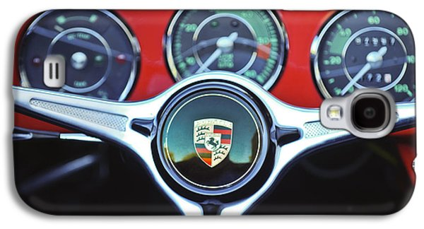 Classic Cars Photographs Galaxy S4 Cases - Porsche C Steering Wheel Emblem -1227c Galaxy S4 Case by Jill Reger