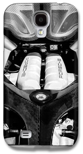 Photography Prints Galaxy S4 Cases - Porsche Carrera GT Engine -0339bw Galaxy S4 Case by Jill Reger