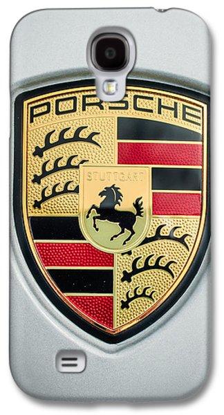 Photography Prints Galaxy S4 Cases - Porsche Emblem -0033c45 Galaxy S4 Case by Jill Reger