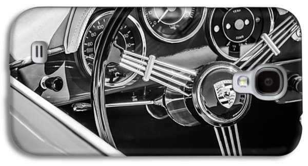 Photography Prints Galaxy S4 Cases - Porsche Steering Wheel Emblem -2043bw Galaxy S4 Case by Jill Reger