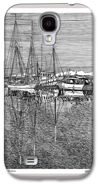 Pen And Ink Drawing Drawings Galaxy S4 Cases - Reflections of Port Orchard Washington Galaxy S4 Case by Jack Pumphrey