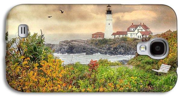 Coastal Maine Galaxy S4 Cases - Portland Head in Autumn Galaxy S4 Case by Lori Deiter