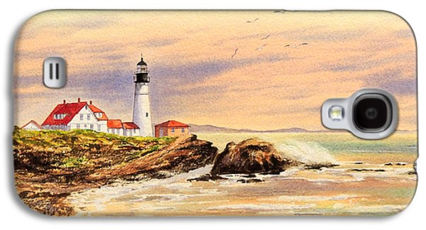 New England Lighthouse Paintings Galaxy S4 Cases - Portland Head Lighthouse Maine Galaxy S4 Case by Bill Holkham