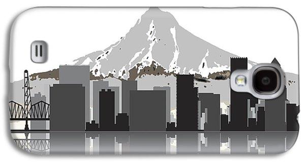 Nike Digital Art Galaxy S4 Cases - Portland Oregon Skyline 2 Galaxy S4 Case by Daniel Hagerman
