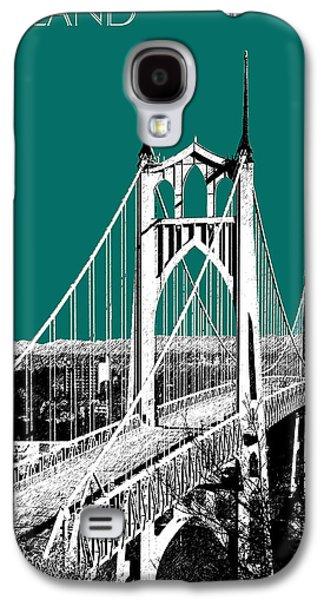 Portland Skyline St. Johns Bridge - Sea Green Galaxy S4 Case by DB Artist