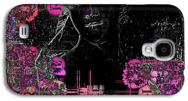 Floral Digital Digital Galaxy S4 Cases - Portrait in Black - s01-02b Galaxy S4 Case by Variance Collections